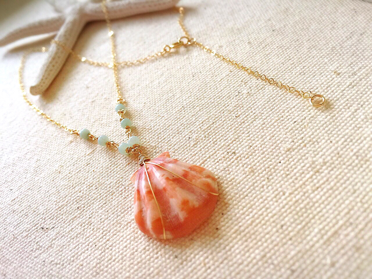 Pink shel Necklace Custamise